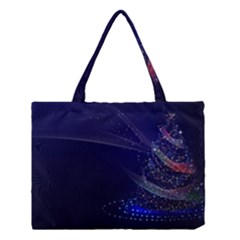 Christmas Tree Blue Stars Starry Night Lights Festive Elegant Medium Tote Bag by yoursparklingshop