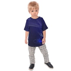 Christmas Tree Blue Stars Starry Night Lights Festive Elegant Kids Raglan Tee by yoursparklingshop