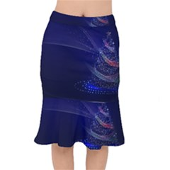 Christmas Tree Blue Stars Starry Night Lights Festive Elegant Mermaid Skirt by yoursparklingshop