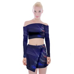 Christmas Tree Blue Stars Starry Night Lights Festive Elegant Off Shoulder Top With Mini Skirt Set by yoursparklingshop