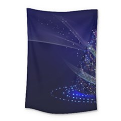 Christmas Tree Blue Stars Starry Night Lights Festive Elegant Small Tapestry by yoursparklingshop