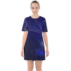 Christmas Tree Blue Stars Starry Night Lights Festive Elegant Sixties Short Sleeve Mini Dress by yoursparklingshop