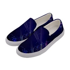 Christmas Tree Blue Stars Starry Night Lights Festive Elegant Women s Canvas Slip Ons by yoursparklingshop