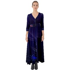 Christmas Tree Blue Stars Starry Night Lights Festive Elegant Button Up Boho Maxi Dress by yoursparklingshop