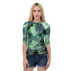 Northern Lights In The Forest Quarter Sleeve Raglan Tee by Ucco
