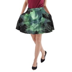 Northern Lights In The Forest A Line Pocket Skirt by Ucco