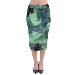 Northern Lights In The Forest Midi Pencil Skirt by Ucco