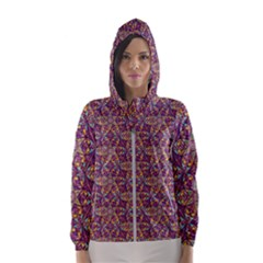 Flower Kaleidoscope 2 01 Hooded Wind Breaker (women) by Cveti