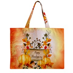 Happy Thanksgiving With Pumpkin Mini Tote Bag by FantasyWorld7