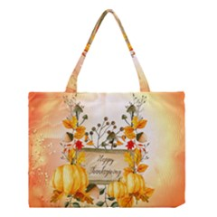 Happy Thanksgiving With Pumpkin Medium Tote Bag by FantasyWorld7