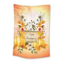 Happy Thanksgiving With Pumpkin Small Tapestry by FantasyWorld7