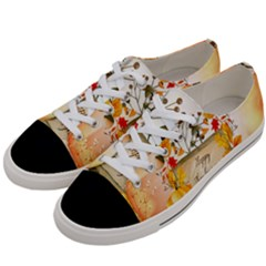 Happy Thanksgiving With Pumpkin Women s Low Top Canvas Sneakers by FantasyWorld7