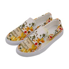 Happy Thanksgiving With Pumpkin Women s Canvas Slip Ons by FantasyWorld7