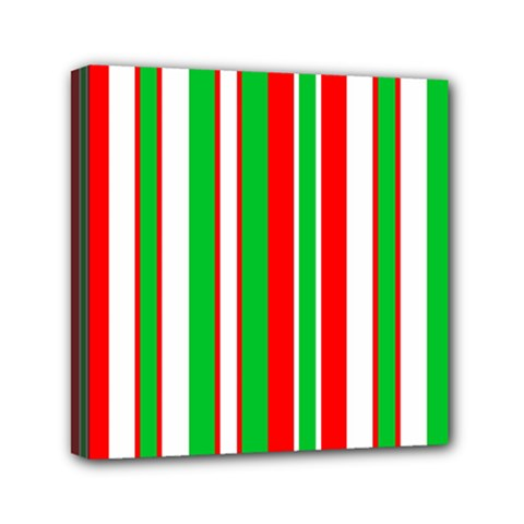Christmas Holiday Stripes Red Mini Canvas 6  X 6  by Celenk