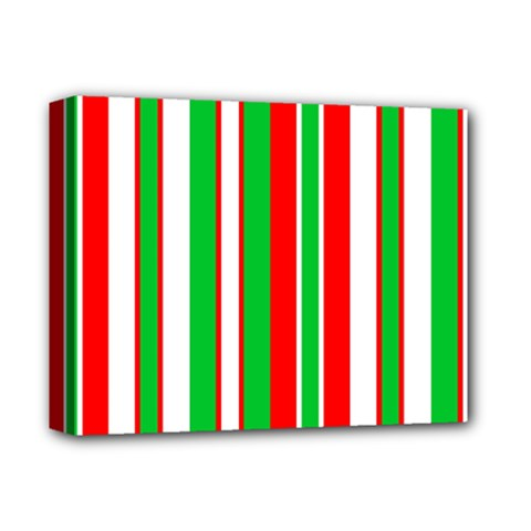 Christmas Holiday Stripes Red Deluxe Canvas 14  X 11  by Celenk