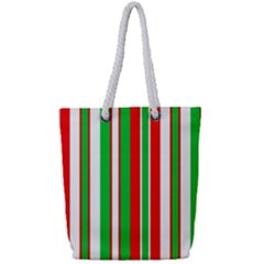 Christmas Holiday Stripes Red Full Print Rope Handle Bag (small) by Celenk