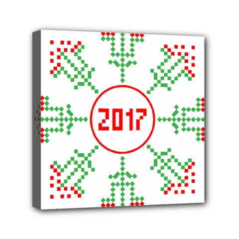 Snowflake Graphics Date Year Mini Canvas 6  X 6  by Celenk