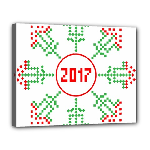 Snowflake Graphics Date Year Canvas 14  X 11  by Celenk