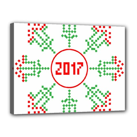 Snowflake Graphics Date Year Canvas 16  X 12  by Celenk