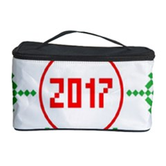 Snowflake Graphics Date Year Cosmetic Storage Case by Celenk