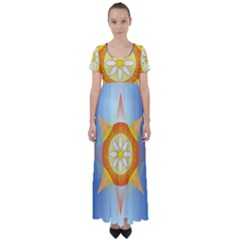 Star Pattern Background High Waist Short Sleeve Maxi Dress