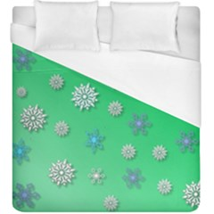 Snowflakes Winter Christmas Overlay Duvet Cover (king Size) by Celenk