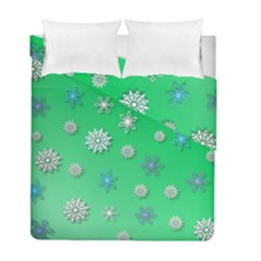 Snowflakes Winter Christmas Overlay Duvet Cover Double Side (full/ Double Size) by Celenk