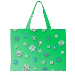Snowflakes Winter Christmas Overlay Zipper Large Tote Bag by Celenk