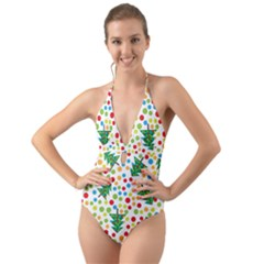 Pattern Circle Multi Color Halter Cut Out One Piece Swimsuit by Celenk