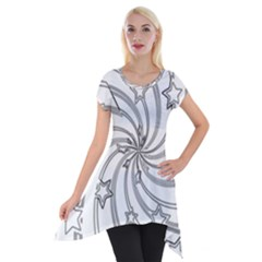 Star Christmas Pattern Texture Short Sleeve Side Drop Tunic by Celenk