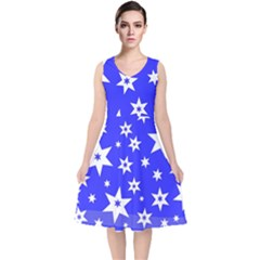 Star Background Pattern Advent V Neck Midi Sleeveless Dress  by Celenk