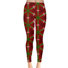 Textured Background Christmas Pattern Leggings  by Celenk