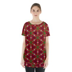 Textured Background Christmas Pattern Skirt Hem Sports Top by Celenk