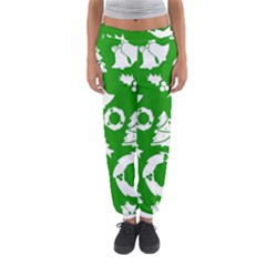 Green White Backdrop Background Card Christmas Women s Jogger Sweatpants by Celenk