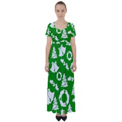 Green White Backdrop Background Card Christmas High Waist Short Sleeve Maxi Dress