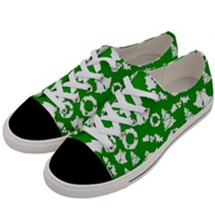 Green White Backdrop Background Card Christmas Women s Low Top Canvas Sneakers by Celenk