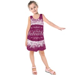 Christmas Card Red Snowflakes Kids  Sleeveless Dress
