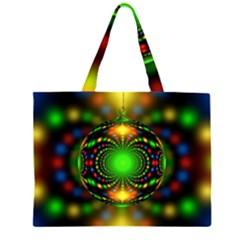 Christmas Ornament Fractal Zipper Large Tote Bag by Celenk