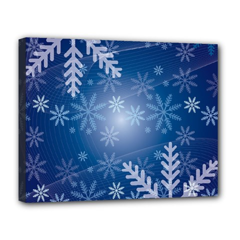 Snowflakes Background Blue Snowy Canvas 14  X 11  by Celenk