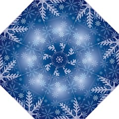 Snowflakes Background Blue Snowy Hook Handle Umbrellas (large) by Celenk