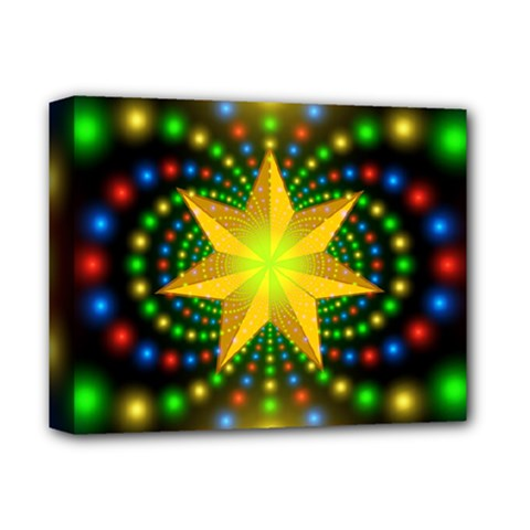Christmas Star Fractal Symmetry Deluxe Canvas 14  X 11  by Celenk