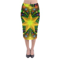 Christmas Star Fractal Symmetry Midi Pencil Skirt by Celenk