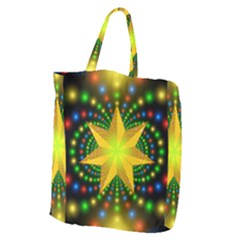Christmas Star Fractal Symmetry Giant Grocery Zipper Tote by Celenk
