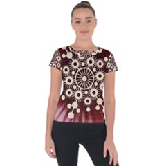 Background Star Red Abstract Short Sleeve Sports Top