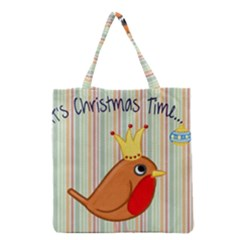 Bird Christmas Card Blue Modern Grocery Tote Bag by Celenk