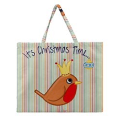 Bird Christmas Card Blue Modern Zipper Large Tote Bag by Celenk