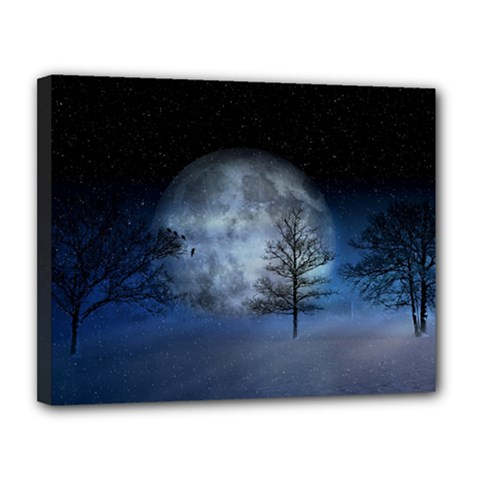 Winter Wintry Moon Christmas Snow Canvas 14  X 11  by Celenk