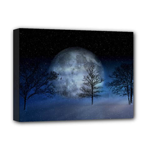 Winter Wintry Moon Christmas Snow Deluxe Canvas 16  X 12   by Celenk