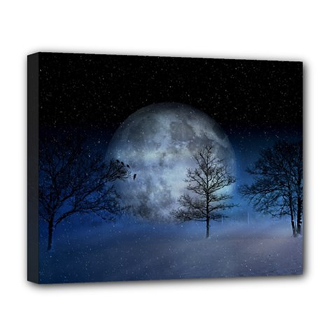 Winter Wintry Moon Christmas Snow Deluxe Canvas 20  X 16   by Celenk