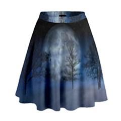 Winter Wintry Moon Christmas Snow High Waist Skirt by Celenk